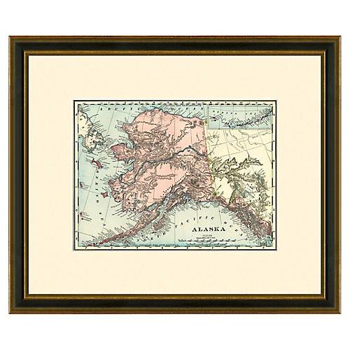 Framed Antique Map of Alaska, 1886-1899