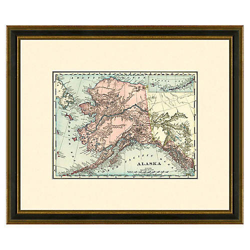 Framed Antique Map of Alaska, 1886-1899
