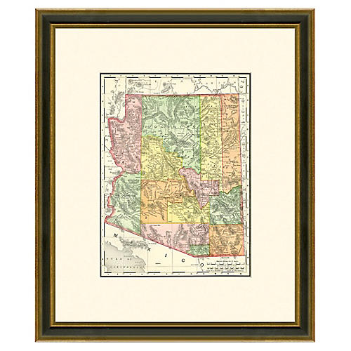 Framed Antique Map of Arizona, 1886-1899