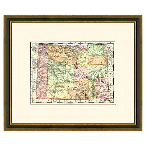 Framed Antique Map of Wyoming, 1886-1899