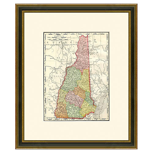 Framed Map of New Hampshire, 1886-1899