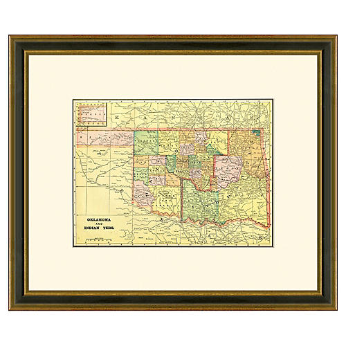 Framed Antique Oklahoma Map, 1894-1899