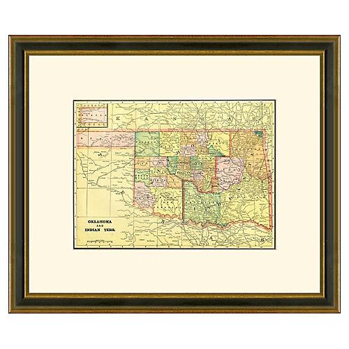 Framed Antique Oklahoma Map, 1894-1899