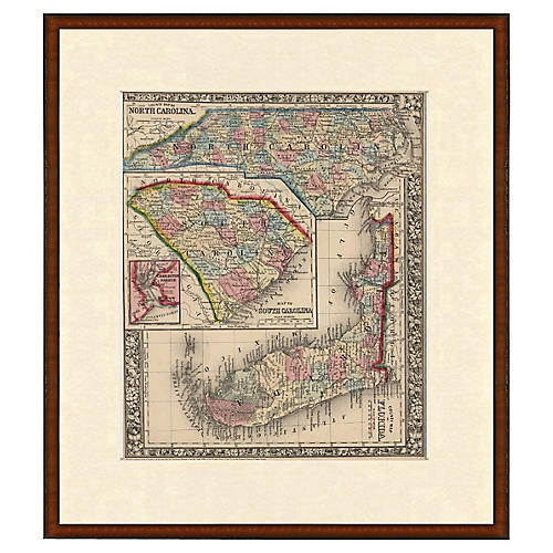 Framed Antique FL, NC, and SC Map, 1853