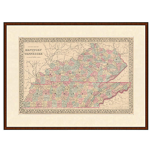 Framed Antique Map of KY and TN, 1853
