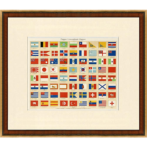 Framed Antique Print National Flags 1899