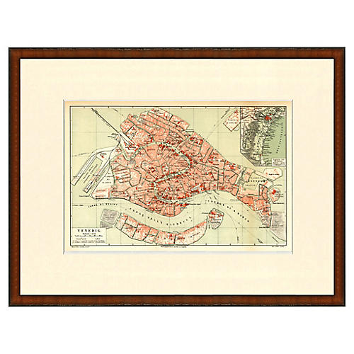 Framed Antique Map of Venice 1899
