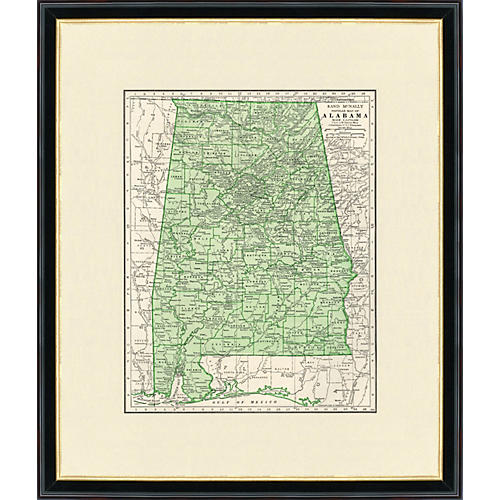Framed Map of Alabama, 1937