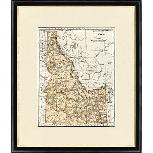 Framed Map of Idaho, 1937