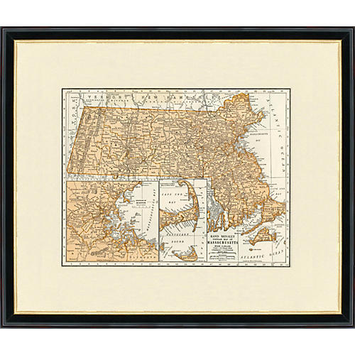 Framed Antique Map of Massachusetts 1937