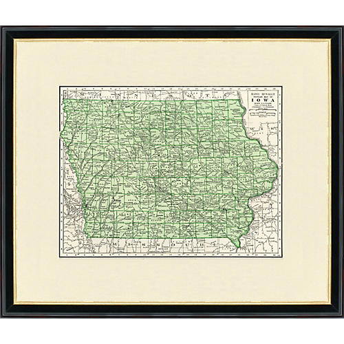 Framed Antique Map of Iowa 1937