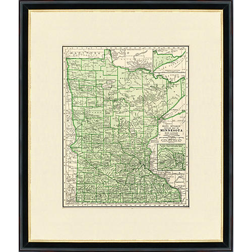 Framed Map of Minnesota, 1937