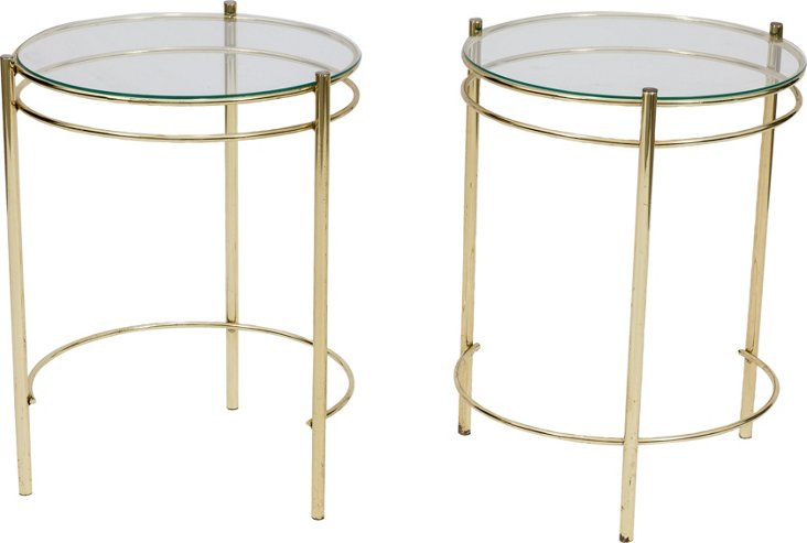 Brass End Tables w/ Glass Tops, Pair