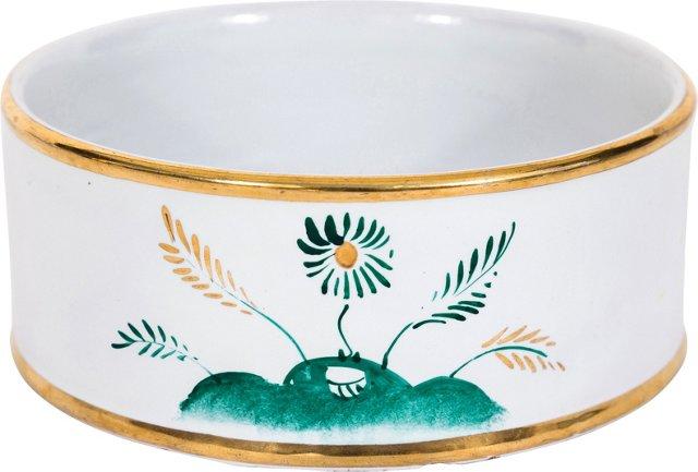 Round Italian Dish w/ Gold Trim