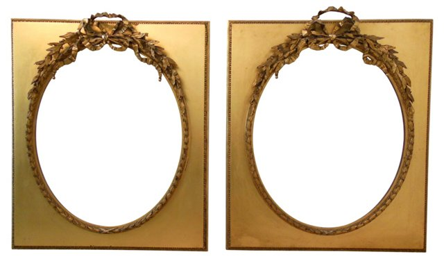 French Gilt & Gesso Frames, Pair