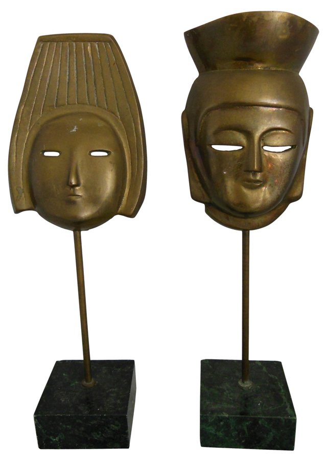 Midcentury Brass Mask Sculptures, Pair