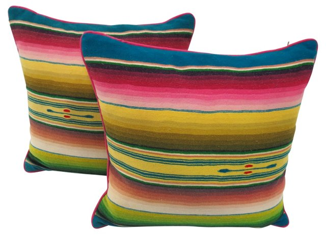 Navajo Pillows w/ Pink Welt, Pair