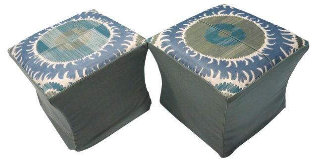 Ottomans w/ Suzani Slipcovers, Pair