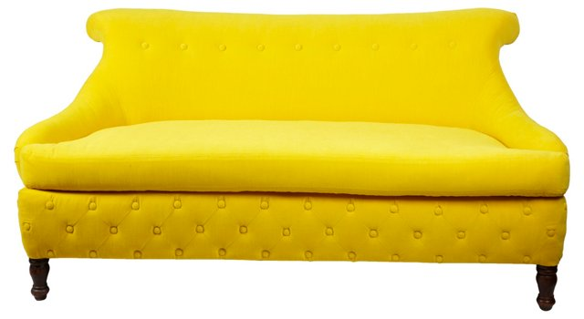 Yellow Diamond-Tufted Sofa