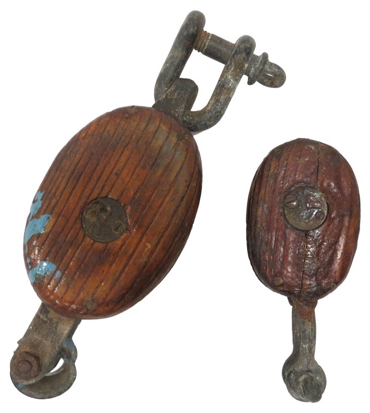 Wooden Pulleys, Pair