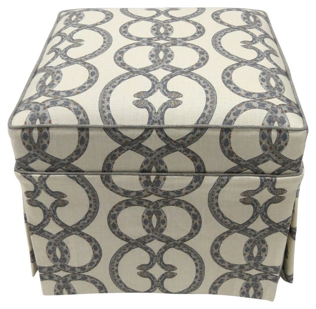 Custom Ottoman w/ Snake Upholstery