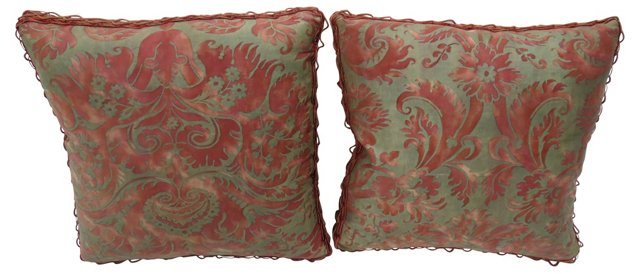 Pillows w/ Antique Fortuny Textile, Pair