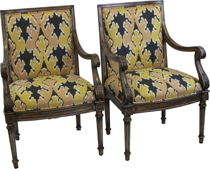 Ikat French Chairs, Pair
