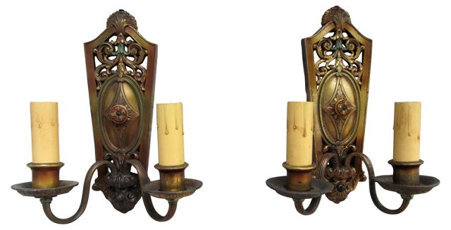 2-Arm Victorian French Sconces, Pair