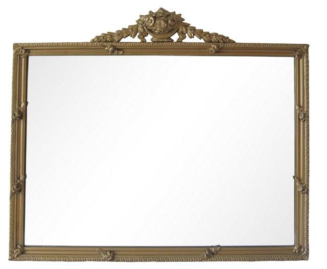 Horizontal Rose Mirror w/ Crest