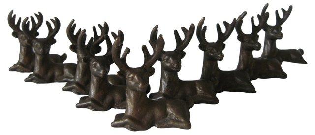 Brass Deer Place-Card Holders, 9 Pcs