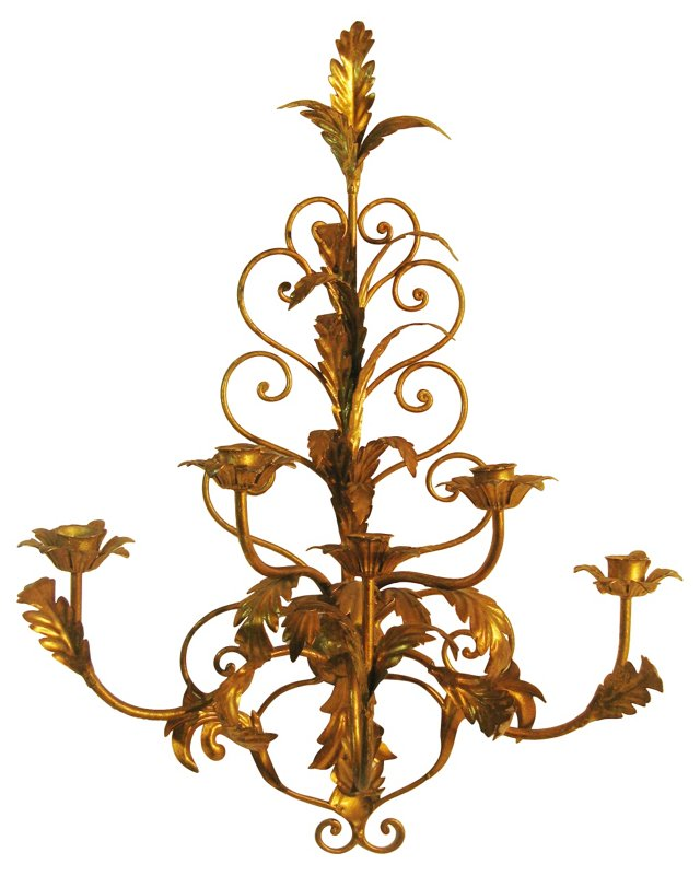 Italian Gold Leaf Tole Sconce