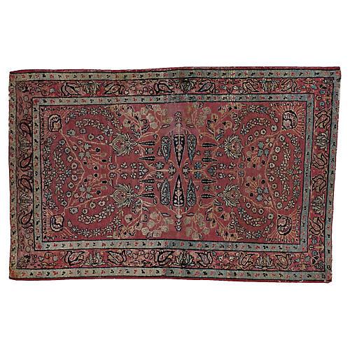 "Distressed Persian Rug, 3'1"" x 4'10"""