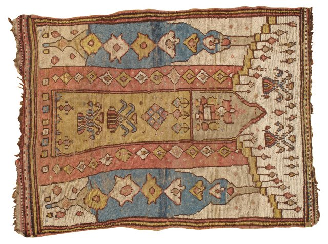 "Antique Oushak, 5'6"" x 4'"