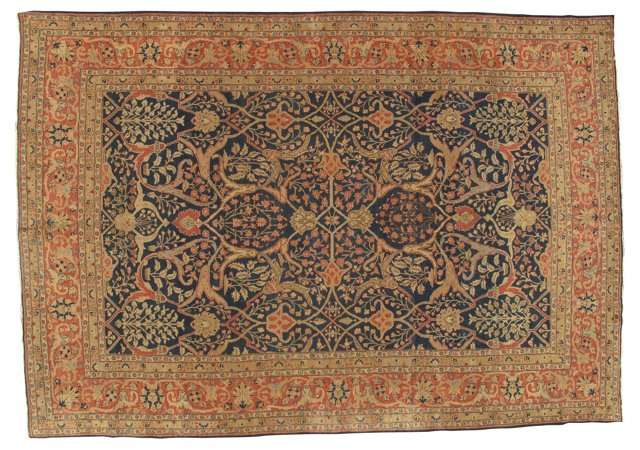 "Antique Tabriz Carpet, 12' x 8'4"""