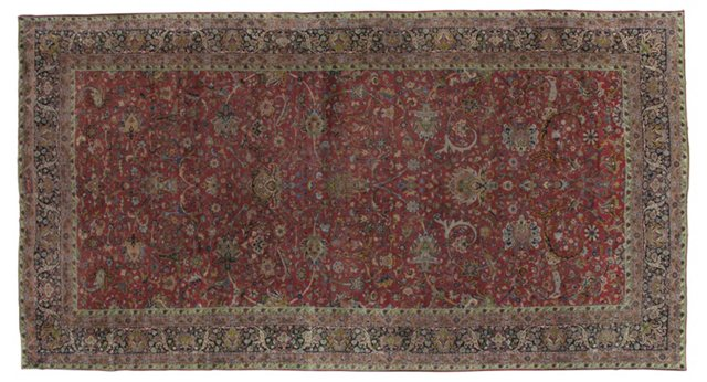 "Antique Kerman Carpet, 9'8"" x 18'3"""