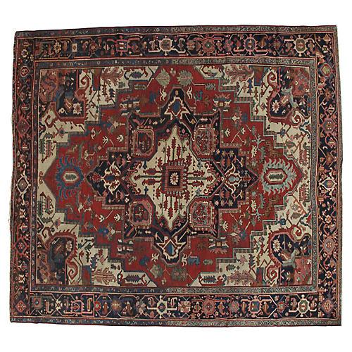 """Antique Heriz Carpet, 9'8"""" x 10'8"""""""
