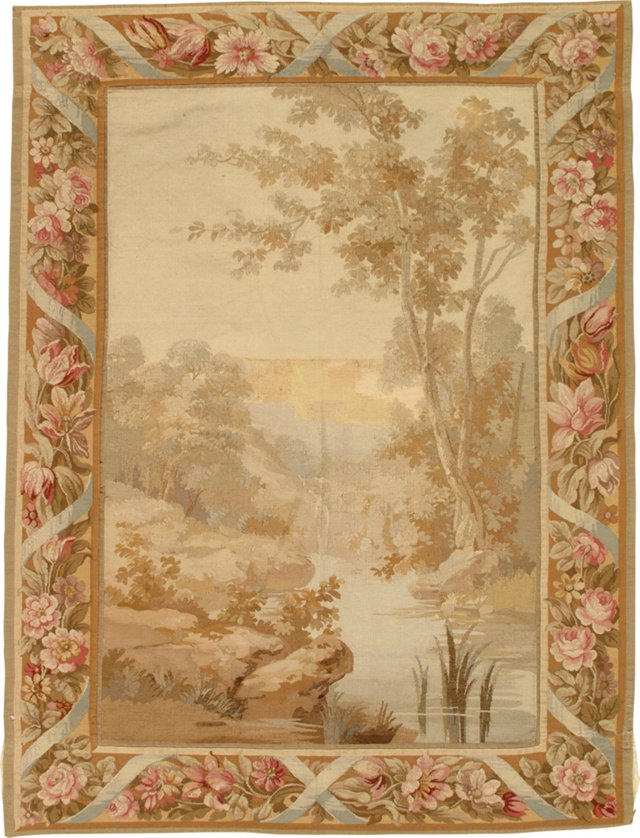 Antique French Tapestry, River Scene