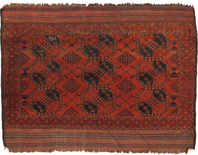 "Red Antique Afghan Carpet, 6'6"" x 8'"