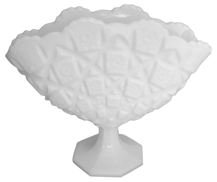 Quilted Milk Glass Fan Vase