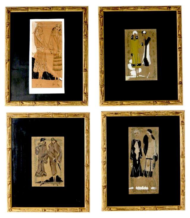 Art Deco Fashion Gouaches, S/4