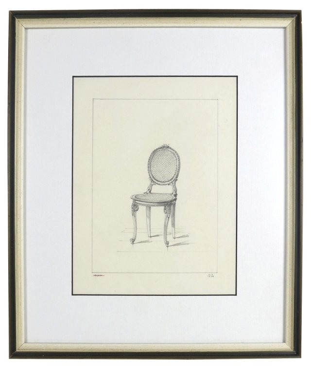 Original French Chair Pencil Drawing