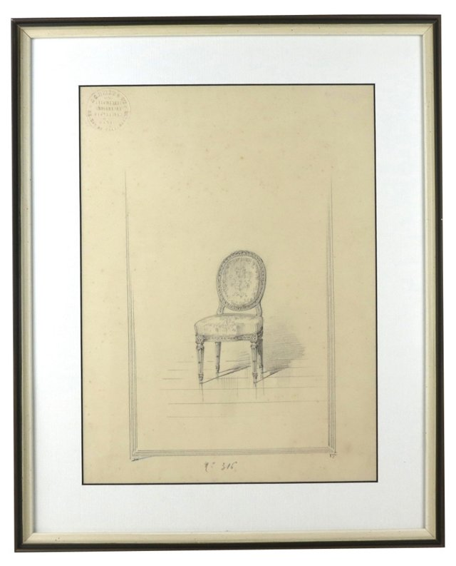 Baroque Boudoir Chair Drawing