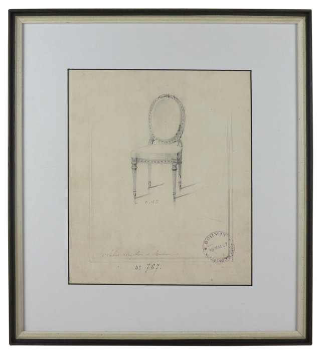 Louis XIV Mademoiselle Chair Drawing
