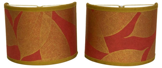 Gold Leaves & Red Half Shades, Pair