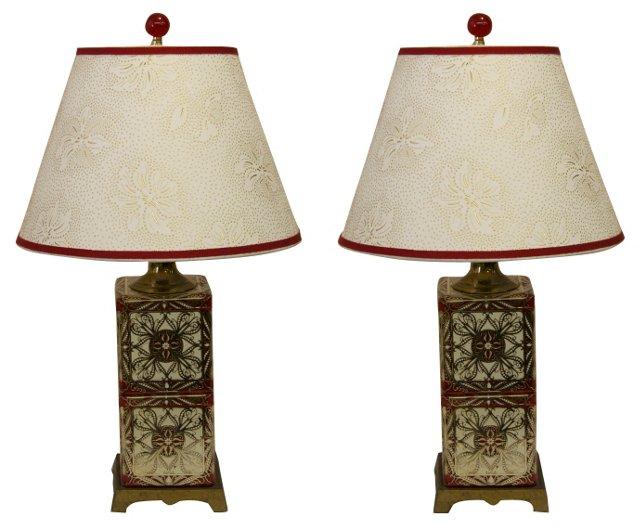 Tea-Tin Lamps, Pair