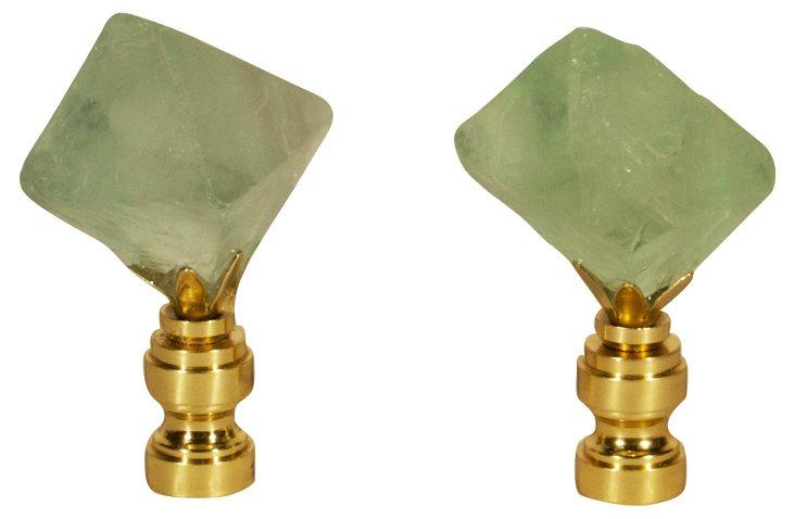 Fluorite  Crystal Finials, Pair