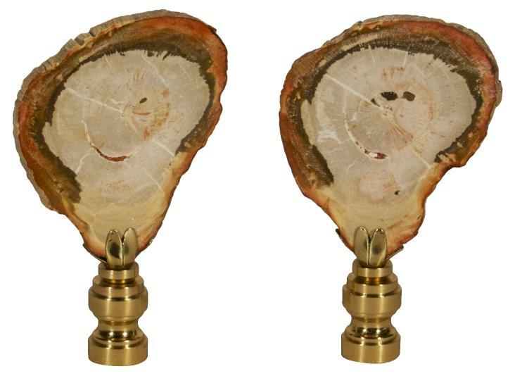 Petrified Wood     Finials, Pair