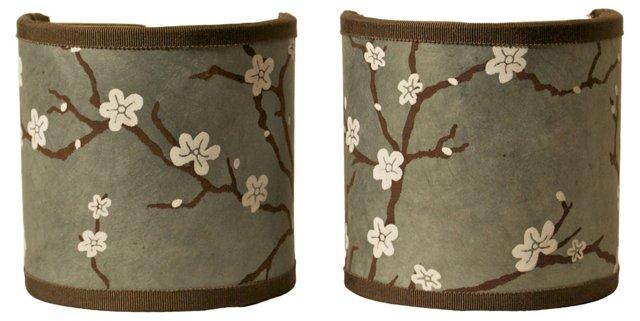 Gray Cherry Blossom Shield Shades, Pair