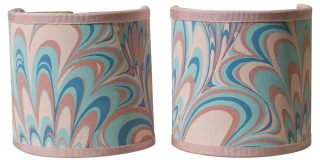 Pink & Aqua Swirl Shield Shades, Pair