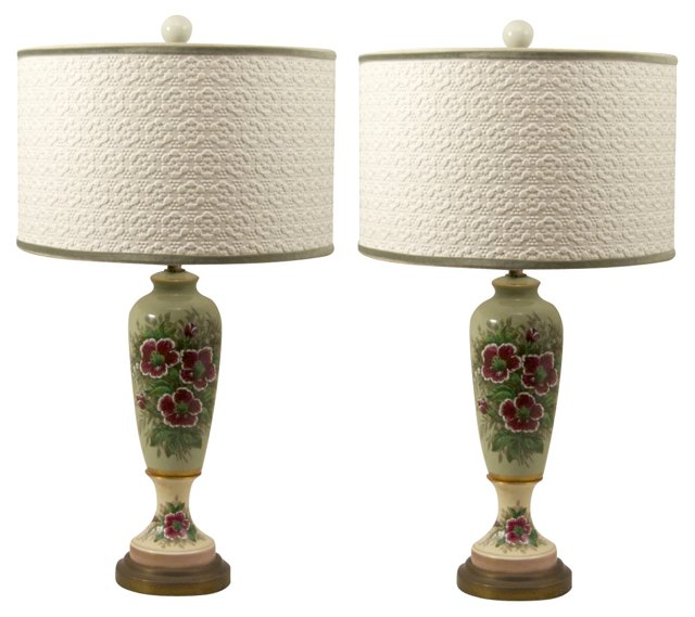Hand-Painted Floral Lamps, Pair